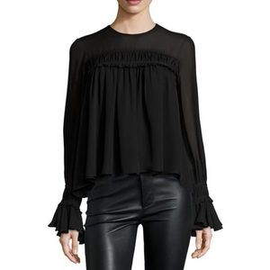 CINQ A SEPT | monarch black silk blouse